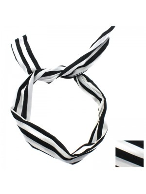 Striped Bendy Headwrap - Black and White