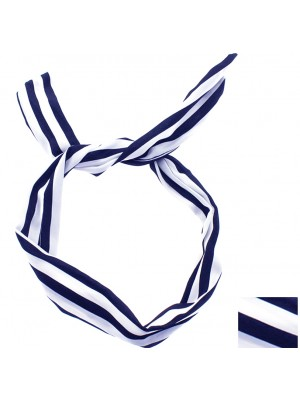 Striped Bendy Headwrap - Blue and White