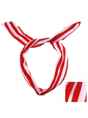 Striped Bendy Headwrap - Red and White