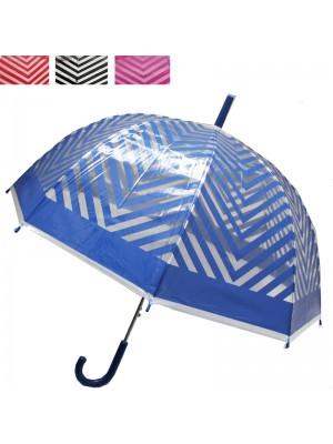 Striped Clear Dome Umbrella - Assorted Colours