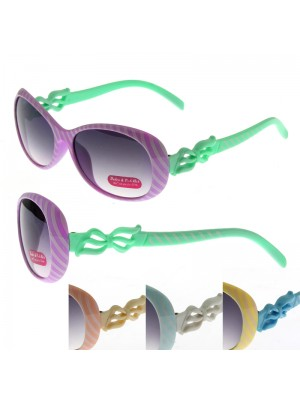 Stripy Glasses With A Bow Frame - Assorted Colours