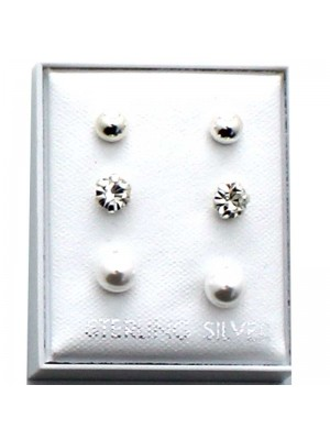 Wholesale Sterling Silver Assorted Design Studs-4/3/2.5mm