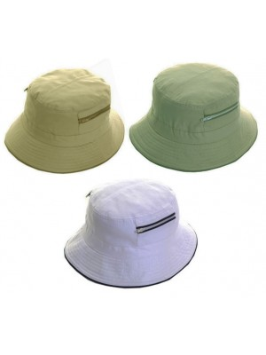 Wholesale Summer Hat With Two Zip Pocket - Assorted Colours