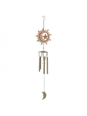Sun and Moon Rusted Design Windchime - 88cm