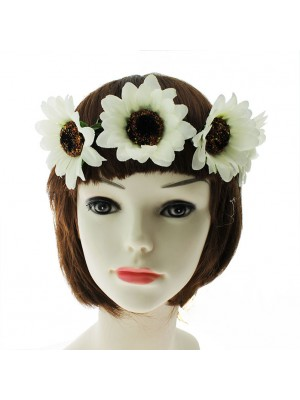 Sunflower Design Boho Headbands - White