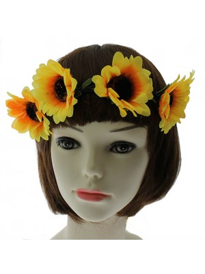Sunflower Design Boho Headbands - Yellow