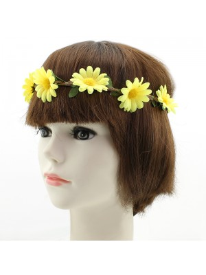 Sunflower & Leaves Design on Elastic Headband