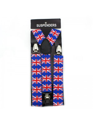 Suspender Braces Union Jack Print 35mm