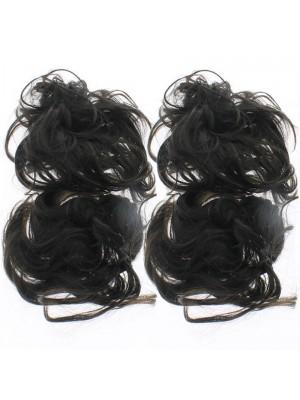 Synthetic Hair Scrunchies - Dark Brown