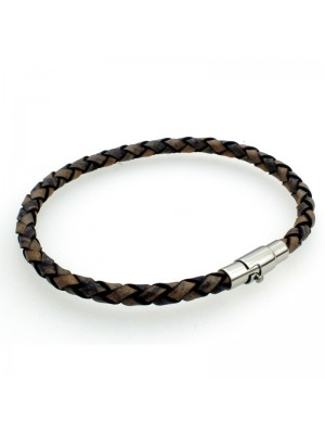 Wholesale Tribal Steel - Leather Bracelet with Magnetic Bayonet Clasp - 21cm - Denim
