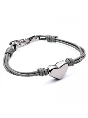 Wholesale Tribal Steel - Four-Strand Leather Bracelet with Heart and Shrimp Clasp - 19 cm - Grey