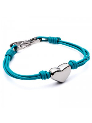 Wholesale Tribal Steel - Four-Strand Leather Bracelet with Heart and Shrimp Clasp - 19 cm - Turquoise