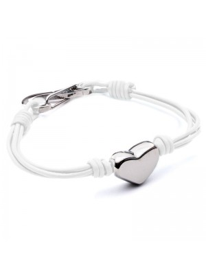 Wholesale Tribal Steel - Four-Strand Leather Bracelet with Heart and Shrimp Clasp - 19 cm - White