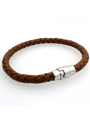 Tribal Steel - Leather Bracelet with Magnetic Bayonet Clasp - 21cm - Tan