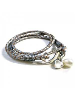 Wholesale Tribal Steel - Two Strand Leather Bracelet with Shrimp Clasp Heart and Pearl - 19cm - Grey