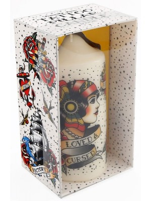 Tattoo Pillar Candle - 14cm