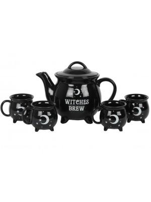Wholesale Witches Brew Cauldron Black Ceramic Tea Set
