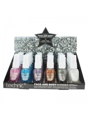 Wholesale Technic Face & Body Shimmer Spray - Assorted Colours