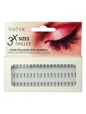 Technic False Eyelashes With Adhesive - 3 Individual Sizes