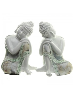 Thai Buddha Contemplating White Gloss Figurine