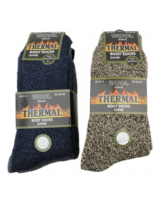 Wholesale Men's Wool Blend Thermal Elastane Boot Socks - (UK 6-11; EUR 39-45)