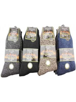 Wholesale Men's Wool Blend Thermal Elastane Boot Socks - (UK 6-11; EUR 39-45)