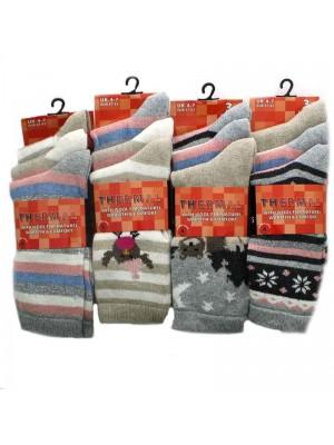 Womens Thermal Socks Assorted Designs  4-7
