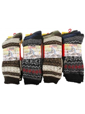 Wholesale Men's Card Of 3 Thermal Boot Socks - Assorted Colour(6-11)