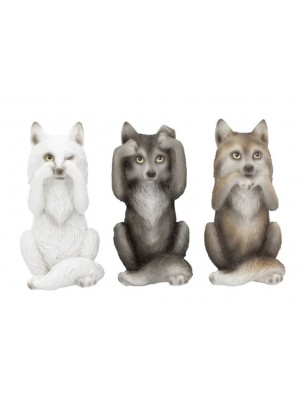 Wholesale Three Wise Wolves Figurine - 10cm