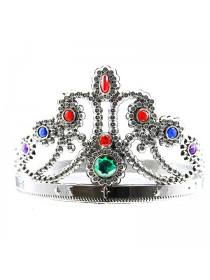 Plastic Silver Tiara Crown - Diamond Design