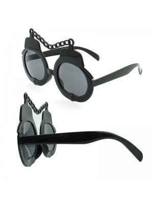 Tinted Glasses With A Chain Design - Black