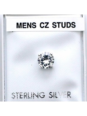 Wholesale Sterling Silver CZ Men's Round Studs-Clear(6mm)