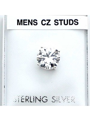Wholesale Sterling Silver Men's Round CZ Studs-Clear(8mm)