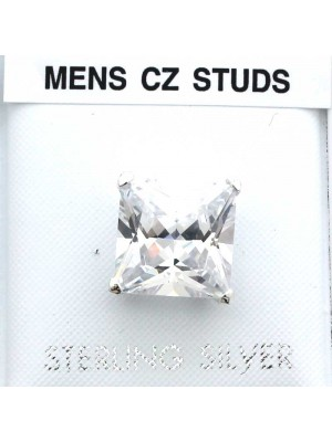 Wholesale Sterling Silver Square Men's CZ Studs-10mm