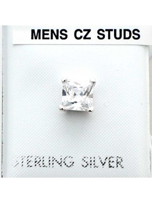 Wholesale Square Sterling Silver Men's CZ Stud-Clear(6mm)