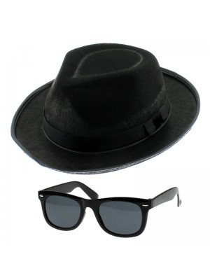 Total Blue Glasses & Hat Set - Black