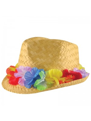 Trilby Straw Hat With Flower Garland
