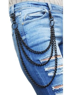 Triple Metal Chain Lightweight With Double Hooks - Black(B)