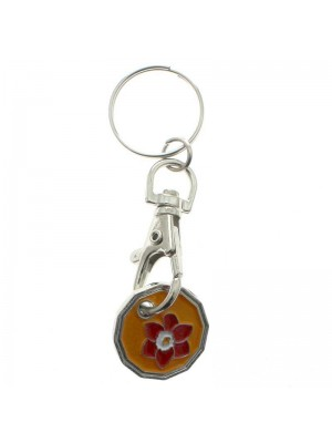 Wholesale Trolley Coin Keyrings - Flower