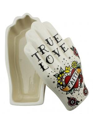 Palmistry Tattoo Hand Trinket Box(15cm) - True Love