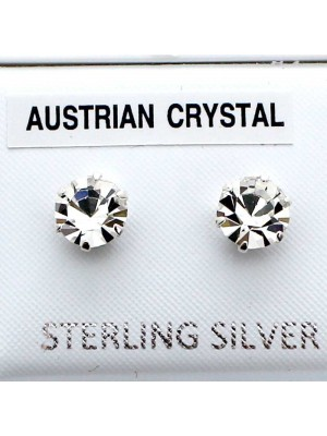 Wholesale Sterling Silver Austrian Crystal Round Stud-7mm