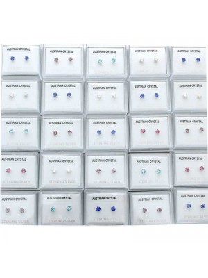 Wholesale Sterling Silver Austrian Crystal Round Studs-Assorted Colours(4mm)