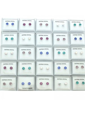 Wholesale Sterling Silver Austrian Crystal Round Studs-Assorted Colours(6mm)