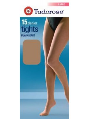 Tudorose 15 Denier Plain Knit Tights With Gusset (Large) - Navy