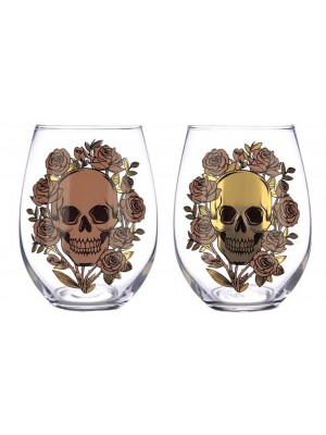 Wholesale Skulls and Roses Set of 2 Glass Tumblers