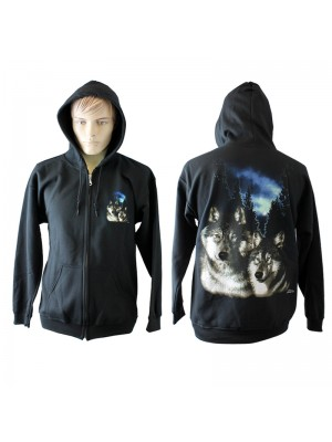 Twin Wolf Print Black Hoodie - Zipped