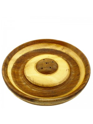 Two Toned Wooden Incense Holder Plate - 5''