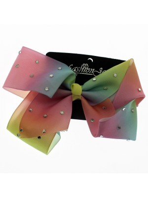 Two Tone Fashion Bows with Crystals - 17cm