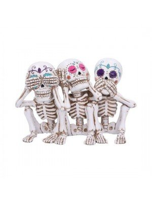 Three Wise Calaveras Skeleton Figurines- 20.3 cm