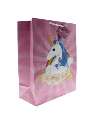 Unicorn Gift Bag Have a Magical Birthday Design (26x33x12cm)